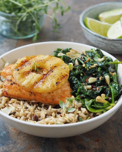 Asian Marinated Salmon with Grilled Pineapple